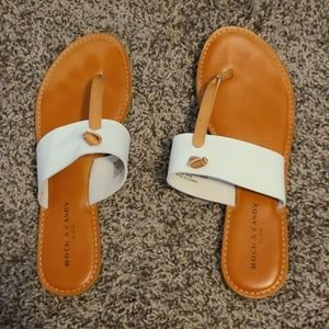 Womens white and tan sandals